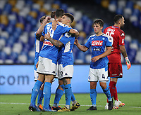 13th June 2020; Stadio San Paolo, Naples, Campania, Italy; Coppa Italia Football, Napoli versus Inter Milan; Napoli team players celebrate at the end off the match as they move into the final of the Coppa