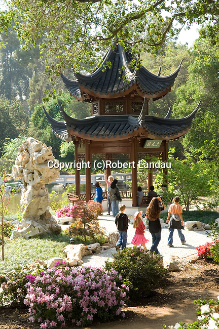 Visitors at the Chinese Garden at the Huntington Gardens in Pasadena, CA