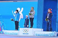OLYMPICS: SOCHI: Medal Plaza, 09-02-2014, Snowboard, Ladies' Slopestyle, Enni Rukajarvi (FIN), Jamie Anderson (USA), Jenny Jones (GBR), ©photo Martin de Jong