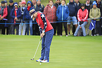 Jessica Korda of Team USA on the 4th green during Day 2 Foursomes at the Solheim Cup 2019, Gleneagles Golf CLub, Auchterarder, Perthshire, Scotland. 14/09/2019.<br /> Picture Thos Caffrey / Golffile.ie<br /> <br /> All photo usage must carry mandatory copyright credit (© Golffile | Thos Caffrey)