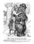 "Who's Afraid of the Big Bad Bear? Madame La France. "" It's a good bear - a nice bear - a kind bear! We must give it one of our Geneva buns!"" (Signs are noticed for a rapprochement between France and the U.S.S.R., and it is suggested that Russia will apply for admission to the League of Nations.)"