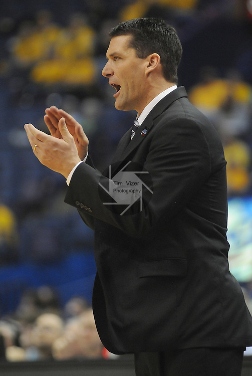 March 4,  2011            Northern Iowa head coach Ben Jacobson claps for his team in the second half.  Creighton defeated Northern Iowa 60-57 in the second quarterfinal game of the NCAA Missouri Valley Conference Men's Basketball Tournament on Friday March 4, 2011 at the Scottrade Center in downtown St. Louis.