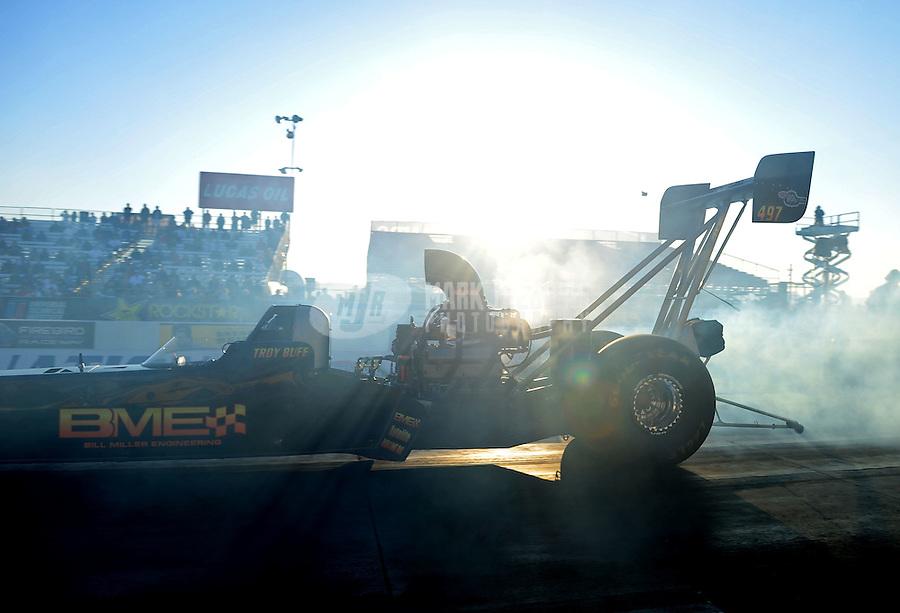 Feb. 17 2012; Chandler, AZ, USA; NHRA top fuel dragster driver Troy Buff during qualifying for the Arizona Nationals at Firebird International Raceway. Mandatory Credit: Mark J. Rebilas-