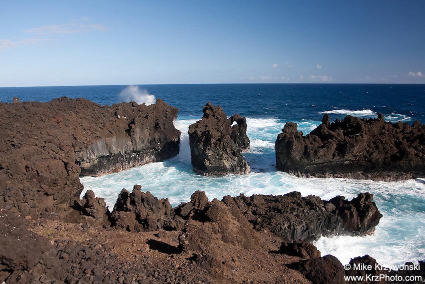 Sea cliffs at Waianapanapa State Park, Maui
