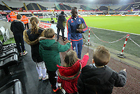 Modou Barrow of Swansea arrives before the Barclays Premier League match between Swansea City and Watford at the Liberty Stadium, Swansea on January 18 2016
