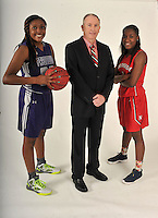 NWA Democrat-Gazette/MICHAEL WOODS • @NWAMICHAELW<br /> Newcomer of the Year, Jasmine Franklins of Fayetteville High, Coach of the Year Rickey Smith of Fort Smith Northside and Player of the Year,  Aahliyah Jackson of Fort Smith Northside, Wednesday, March 16, 2016 in Springdale.