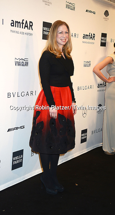 Chelsea Clinton attends the amfAR New York Gala on February 5, 2014 at Cipriani Wall Street in New York City.
