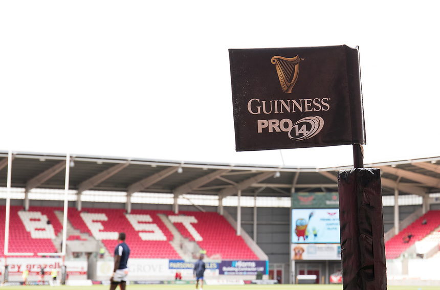 A general view of Parc Y Scarlets, home of Scarlets branding flags<br /> <br /> Photographer Simon King/CameraSport<br /> <br /> Guinness Pro14 Round 1 - Scarlets v Southern Kings - Saturday 2nd September 2017 - Parc y Scarlets - Llanelli, Wales<br /> <br /> World Copyright &copy; 2017 CameraSport. All rights reserved. 43 Linden Ave. Countesthorpe. Leicester. England. LE8 5PG - Tel: +44 (0) 116 277 4147 - admin@camerasport.com - www.camerasport.com