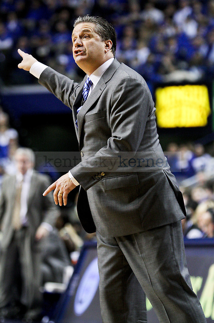 Kentucky head coach John Calipari points where he wants his players to go during the second half of the University of Kentucky vs. Vanderbilt game at the Rupp Arena in Lexington , Ky., on Tuesday, January 20, 2015. Photo by Jonathan Krueger | Staff