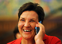 Pictured: Labour candidate for Gower constituency Tonia Antoniazzi delighted at her win before the results are officially announced. Friday 09 June 2017<br />Re: Counting of ballots at Brangwyn Hall for the general election in Swansea, Wales, UK