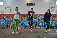 "HOLLYWOOD, FL - MARCH 12: Jason Derulo joined choreographer Jeremy Strong Teaching Youth Choreography to Jason Derulo New Single ""Colors"" at Marti Huizenga Club_ Boys & Girls Club of Broward County on March 12, 2018 in Hollywood, Florida. Footage from the lesson will be used in the official ""Colors"" lyric video. Following the group performance, Derulo host a Q&A with the club's youth answer questions about his upbringing, career, and more.  Credit: MPI10 / MediaPunch"