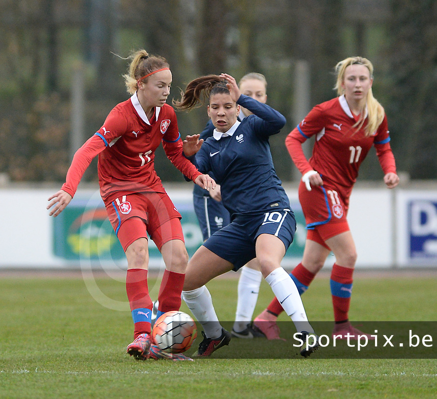 20160319 - FLERS , FRANCE : French Lea Khelifi (R) and Andrea Staskova (L) pictured during the soccer match between the women under 17 teams of  France and the Czech Republic , on the first matchday in group 3 of the UEFA Women Under17 Elite rounds at Stade du Haze in Flers , France . Saturday 19th March 2016 . PHOTO DAVID CATRY