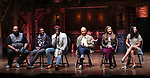 """James Monroe Iglehart, Tyler McKenzie, Carvens Lissaint, Jevon McFerrin, Lliza Ohman and Lauren Boyd from the 'Hamilton' cast during a Q & A before The Rockefeller Foundation and The Gilder Lehrman Institute of American History sponsored High School student #EduHam matinee performance of """"Hamilton"""" at the Richard Rodgers Theatre on October 25, 2017 in New York City."""