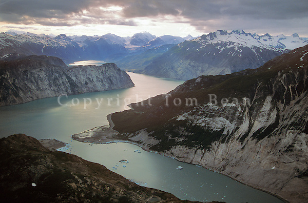 Aerial of Upper Muir Inlet at McBride Glacier Lagoon, Glacier Bay National Park, Alaska, AGPix_0162.