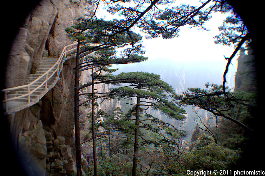 the entire mountain is staircase-accessible - mt. huangshan (yellow mountain)
