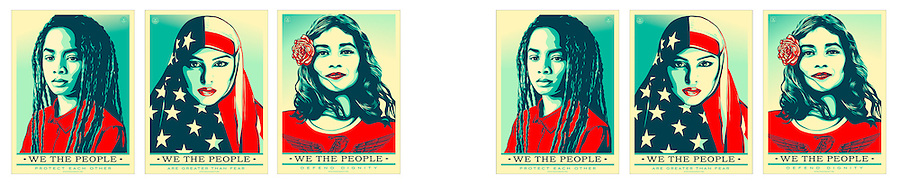 Resist - Protest Posters for social and political advocacy actions.<br /> <br /> Two sets of 3 together, overall print is 44 wide and 9 tall.