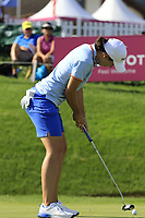 Carlota Ciganda (ESP) putts on the 18th green during Thursday's Round 1 of The Evian Championship 2018, held at the Evian Resort Golf Club, Evian-les-Bains, France. 13th September 2018.<br /> Picture: Eoin Clarke | Golffile<br /> <br /> <br /> All photos usage must carry mandatory copyright credit (© Golffile | Eoin Clarke)