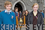 BEARING THE BELL: Listowel students who carried the Eucharistic Congress Bell from Listowel Church on Friday, l-r: Daniel Hartnett, Conor Dillon, Siúin Healy, Allanah Chute.