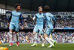 David Silva of Manchester City celebrates scoring the first goal with Leroy Sane and Kevin De Bruyne of Manchester City during the English Premier League match at the Etihad Stadium, Manchester. Picture date: May 6th 2017. Pic credit should read: Simon Bellis/Sportimage