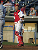 August 24, 2004:  Catcher Jason Jaramillo of the Batavia Muckdogs, Short-Season Single-A affiliate of the Philadelphia Phillies, during a game at Dwyer Stadium in Batavia, NY.  Photo by:  Mike Janes/Four Seam Images