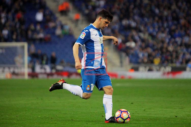 League Santander 2016/2017. Game: 27.<br /> RCD Espanyol vs UD Las Palmas: 4-3.<br /> Javi Lopez.