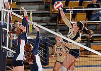 Florida International University women's volleyball player Sabrina Gonzalez (12) plays against the University of South Alabama.  FIU won the match 3-0 on October 30, 2011 at Miami, Florida. .
