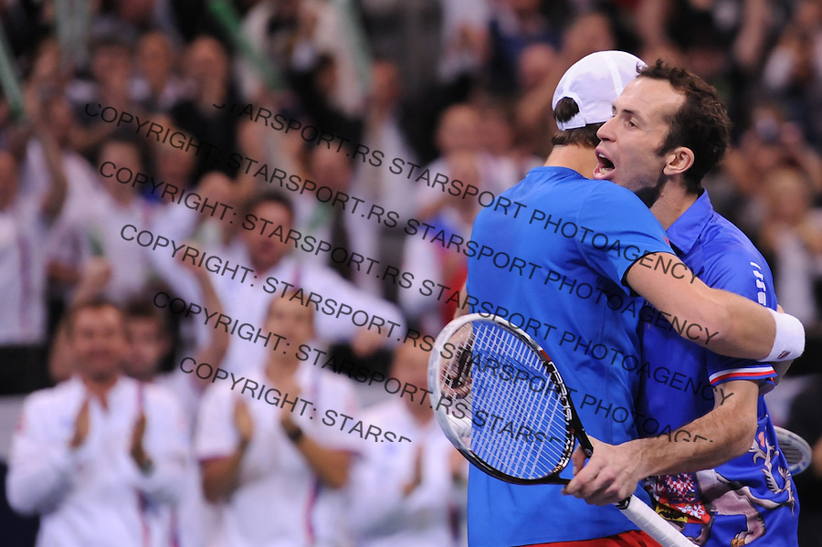 Tennis Tenis<br /> Davis Cup Final 2013<br /> Serbia v Czech Republic<br /> Nenad Zimonjic and Ilija Bozoljac v Radek Stepanek and Tomas Berdych<br /> Tomas Berdych and Radek Stepanek in action<br /> Beograd, 16.11.2013.<br /> foto: Srdjan Stevanovic/Starsportphoto &copy;