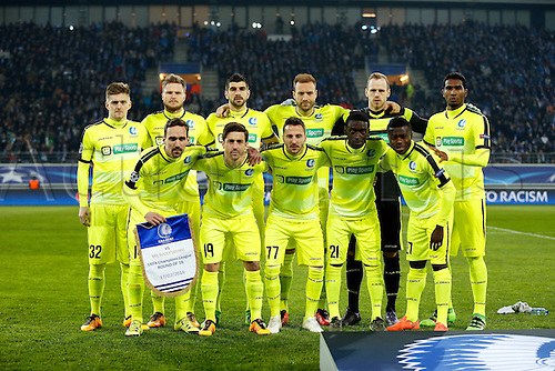 17.02.2016. Gent, Belgium. UEFA Champions League football. KAA Gent versus VfL Wolfsburg.  The team of Gent