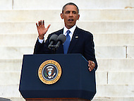 August 28, 2013  (Washington, DC)   President Barack Obama speaks to a crowd of thousands on the grounds of the Lincoln Memorial in the District of Columbia during the 50th anniversary of the 1963 March on Washington August 28, 2013.  (Photo by Don Baxter/Media Images International)