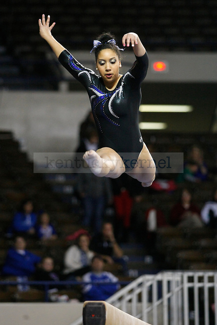 Sophomore Shannon Mitchell performs on the balance beam at UK gymnastics vs. LSU at Memorial Coliseum in Lexington, Ky., on Friday, February 1, 2013. Photo by Tessa Lighty | Staff