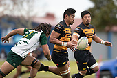 Lester Sefo is pursued by Penitoa Finau as he makes an attacking run  for Bombay. Counties Manukau Club Rugby game between Manurewa and Bombay played at Mountfort Park Manurewa on Saturday June 2nd 2018. Bombay won the game 27 - 20 after leading 20 - 5 at halftime. <br /> Manurewa Kidd Contracting 20 - Caleb Fa'alili, William Raea, Willie Tuala, Viliami Taulani tries.<br /> Bombay 27 - Liam Daniela, Sepuloni Taufa, Talaga Alofipo tries, Ki Anufe 3 conversions, Ki Anufe 2 penalties.<br /> Photo by Richard Spranger.