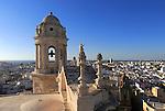 Rooftops buildings in Barrio de la Vina, cathedral roof, Cadiz, Spain