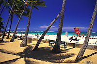 Sans souci beach (French: without a care) is locally known as Kaimana beach. Located at the east of Waikiki beach