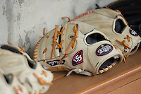 Louisville Slugger brand baseball gloves sit on the bench in the Wake Forest Demon Deacons during the game against the Harvard Crimson at David F. Couch Ballpark on March 5, 2016 in Winston-Salem, North Carolina.  The Crimson defeated the Demon Deacons 6-3.  (Brian Westerholt/Four Seam Images)