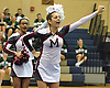 The Mepham varsity cheerleading squad performs during an eight-team competition held at Bethpage High School on Sunday, Jan. 22, 2017.