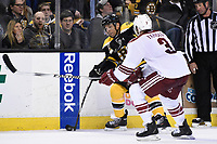 March 13, 2014 - Boston, Massachusetts , U.S. - Boston Bruins right wing Jarome Iginla (12) works to gain the blue line while being checked by Phoenix Coyotes defenseman Keith Yandle (3)  during the NHL game between the Phoenix Coyotes and the Boston Bruins held at TD Garden in Boston Massachusetts. The Bruins defeated the Coyotes 2-1 in regulation time. Eric Canha/CSM