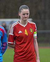 20150404 - FORST , GERMANY  : Belgian Bieke Vandenbussche  pictured during the soccer match between Women Under 19 teams of Belgium and Ukraine , on the first matchday in group 5 of the UEFA Elite Round Women Under 19 at WaldseeStadion , Forst , Germany . Saturday 4th April 2015 . PHOTO DAVID CATRY