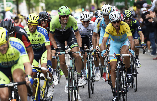 11.07.2014. Eperney to nancy, France. Tour de France cycling tour.  CONTADOR Alberto ESP of Tinkoff-Saxo - VANMARCKE Sep BEL of Belkin-Pro Cycling Team - KWIATKOWSKI Michal of Omega Pharma - Quick-Step - NIBALI Vincenzo ITA of Astana Pro Team - VALVERDE Alejandro ESP of Movistar Team