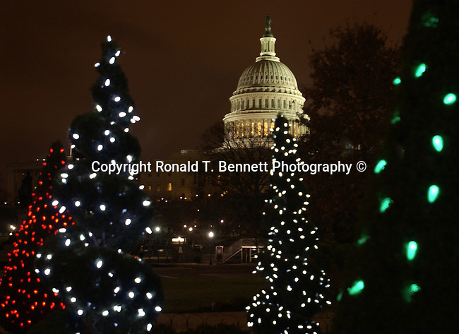 Christmas trees with United States Capitol Washington DC, Red white greet lights on Christmas trees with United States Capitol in background Washington D.C., Washington DC at Christmas, Washington, D.C. fine art photography by Ron Bennett ©. Copyright, Fine Art Photography by Ron Bennett, Fine Art, Fine Art photo, Art Photography,