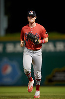 Peoria Chiefs right fielder Brandon Benson (3) jogs back to the dugout during a game against the Bowling Green Hot Rods on September 15, 2018 at Bowling Green Ballpark in Bowling Green, Kentucky.  Bowling Green defeated Peoria 6-1.  (Mike Janes/Four Seam Images)