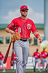 24 February 2019: Washington Nationals top prospect infielder Carter Kieboom arrives at the dugout prior to a Spring Training game against the St. Louis Cardinals at Roger Dean Stadium in Jupiter, Florida. The Nationals defeated the Cardinals 12-2 in Grapefruit League play. Mandatory Credit: Ed Wolfstein Photo *** RAW (NEF) Image File Available ***
