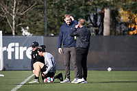 TUKWILA, WA - NOVEMBER 08: Former Seattle player Chad Marshall talks with Chris Henderson of the Seattle Sounders FC at Starfire Sports Complex on November 08, 2019 in Tukwila, Washington.