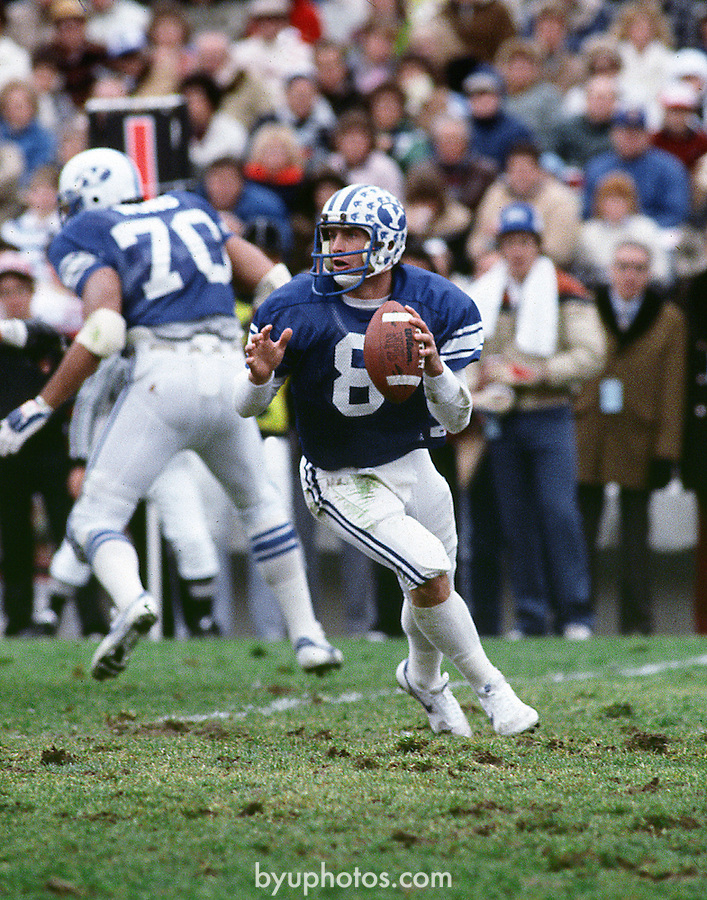 Steve Young Drop Back<br /> <br /> 8 Steve Young<br /> <br /> Photo by: Mark Philbrick/BYU<br /> <br /> Copyright BYU PHOTO 2008<br /> All Rights Reserved