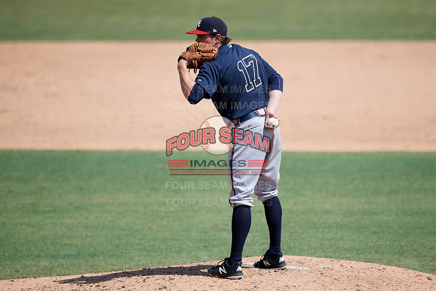 Atlanta Braves pitcher Sean McLaughlin (17) looks in for the sign during an Instructional League game against the Baltimore Orioles on September 25, 2017 at Ed Smith Stadium in Sarasota, Florida.  (Mike Janes/Four Seam Images)