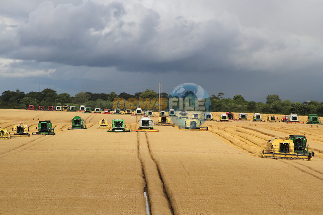 Combines 4 Charity beat the world record for having the most combine harvesters working simultaneously in the same field at Platin, Co.Meath today with over 200 Combines working...(Photo credit should read Jenny Matthews/NEWSFILE)...