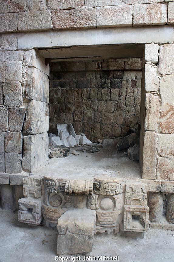 Doorway in the Codz Poop temple at the Mayan ruins of Kabah, Yucatan, Mexico.