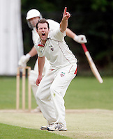Martin Tucker of Hornsey appeals during the Middlesex County League Division two game between Shepherds Bush and Hornsey at Bromyard Avenue, East Acton on Sat July 23, 2011