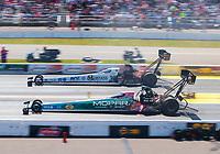 Aug 18, 2019; Brainerd, MN, USA; NHRA top fuel driver Leah Pritchett (near) races alongside Austin Prock during the Lucas Oil Nationals at Brainerd International Raceway. Mandatory Credit: Mark J. Rebilas-USA TODAY Sports