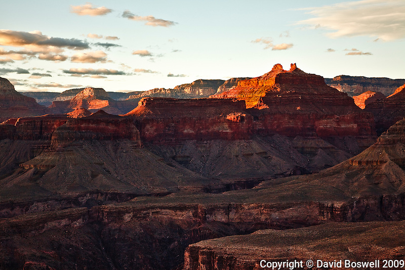 The formation Angels Gate glows in the light of the setting sun.  Taken at Horseshoe Mesa, Grand Canyon National Park.