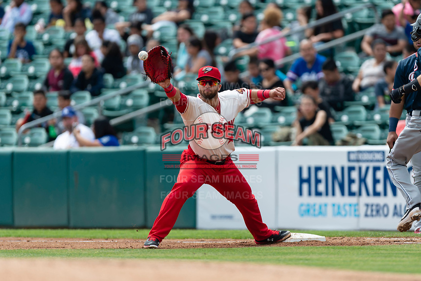 Fresno Grizzlies first baseman Jose Marmelejos (29) during a game against the Reno Aces at Chukchansi Park on April 8, 2019 in Fresno, California. Fresno defeated Reno 7-6. (Zachary Lucy/Four Seam Images)